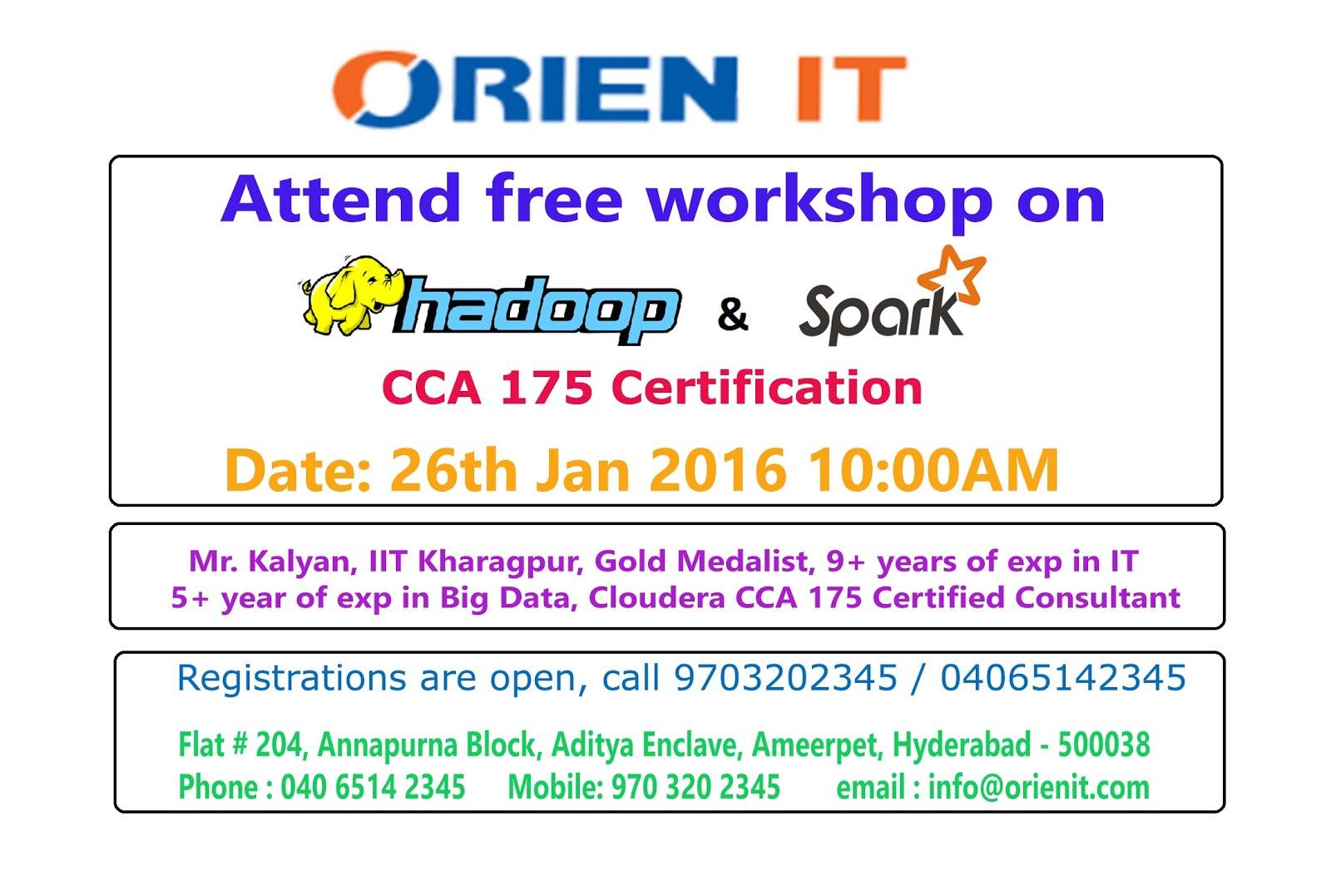 Free Workshop On Cloudera Hadoop And Spark Cca 175 Certification